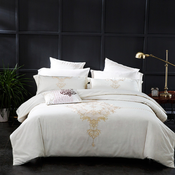 4/6PCS 100% Cotton 60S Luxury bedding sets pure white duvet cover with champagne gold embroidery 2 cushion covers