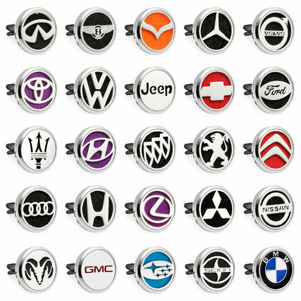 New Arrival Car Logo 30mm Car Diffuser Locket Vent Clip Essential Oil Aromatherapy Diffuser Perfume Locket (10pads)