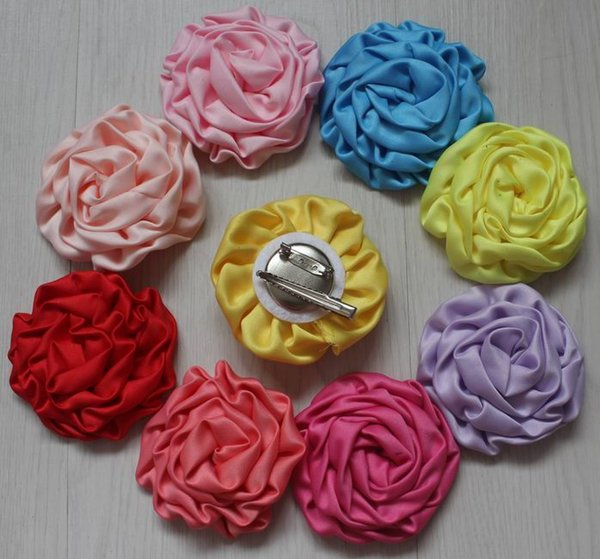 20pcs satin fabric rolled flower with hair and clothing clip for girls,girl hair clip flowers,girl clothing flower accessory