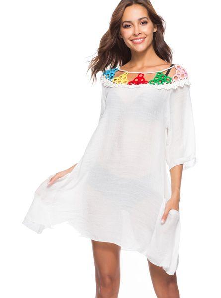 Plaj bikini kapak ups mayo kadınlar yaz elbiseler dantel renkli daire tığ hollow bluz seksi tatil Mayo sırf güneş koruyucu gömlek
