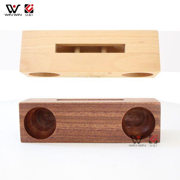 Suporte Móvel Celular Amplificador Speaker madeira maciça titulares telemóvel portátil para Smartphone Tablet Monte de madeira Mini Bracket