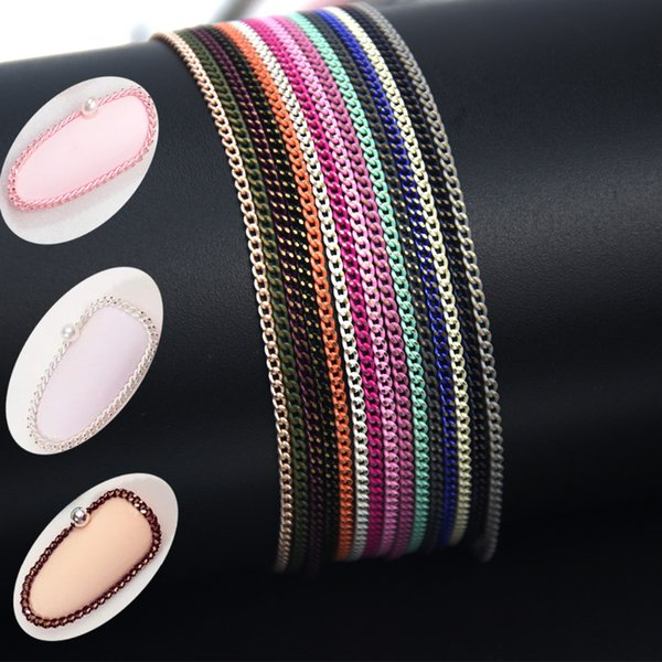 Swagpick 50cm Macaron Colorful Hollow Chain Nail Metal Decoration of Manicure Nails Studs Charming 3D DIY Nail Art Deisgns