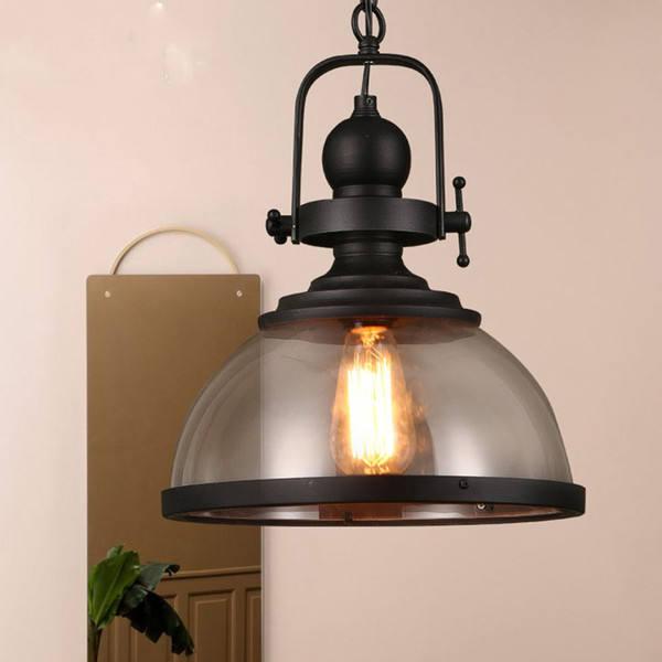 Vintage Industrial glass Pendant Lights Loft iron antique Hanging Lamp for restaurant dining room Bar cafe deco lighting fixture