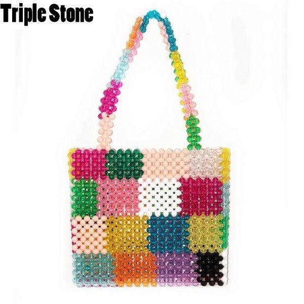 Luxury Design Beaded Bag Handmade Colorful Women Bead Diamond Bag Lady Party Handbag Rainbow Small Tote Bag Retro Pet package D18102303