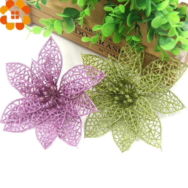 Hot! 3 Pçs / lote Natal Glitter Oco Flores Artificiais Para Xmas Tree Ornament Home Decor Suprimentos da Festa de Natal Y18102609