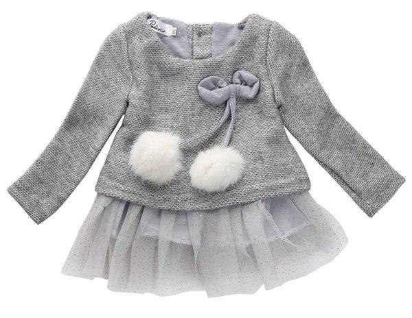 2016 новорожденных девочек платье вязать топы кружева бантом платья дети осень весна одежда 0-24 м