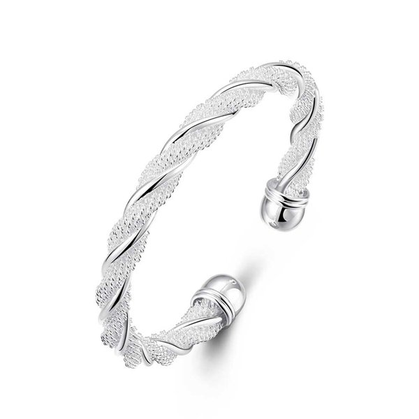 2018 Hot sale 925 sterling silver twisted wire spiral inlay bracelets bangle fashion jewelry making for women gifts free shipping LKNSPCB020