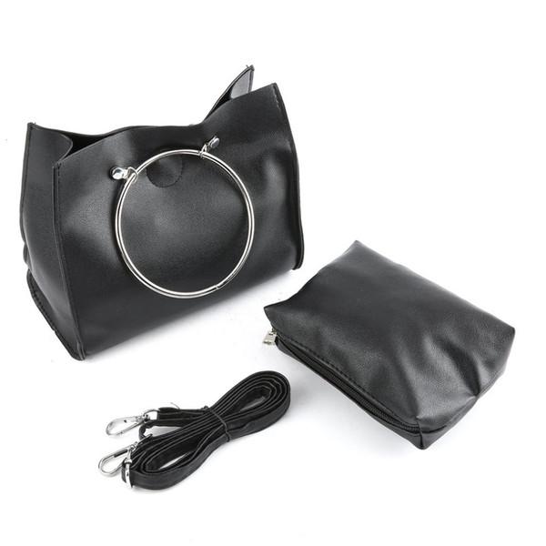 Fashion Women Bag Stylish Iron Ring Handle Handbag Messenger Bag Composite Handbag Ladies Casual PU Leather