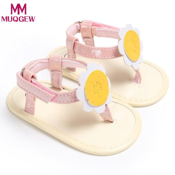 New Design Summer Baby Girl Sandals Shoes PU Leather Rubber Flat Shoes with Big Flowers Princess Baby Anti-skid Sandals