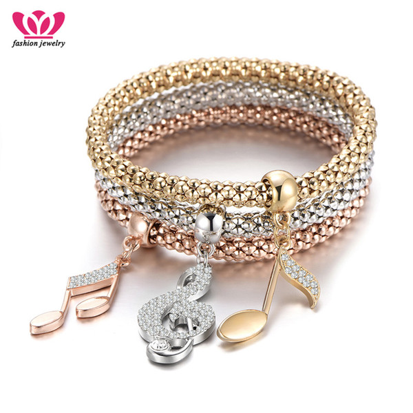 Rose Gold Note Charm Bracelets Three Pieces Punk Style Popcorn Bracelets For Women Fashion Jewelry Birthday Prom Gifts Wholesale