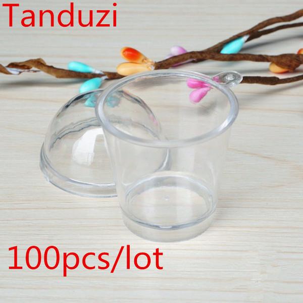 avec Tanduzi 100pcs s + 100pcs Couvercles gros mignon ronde Tiramisu Mousse verrine avec une couverture artificielle Coupe du bricolage déco Parfait Pièces