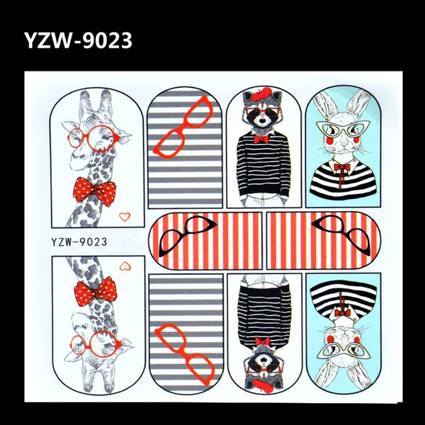 YZWLE 2017 New Nail Art Water Tattoo Decals Cute Rabbit Giraffe Pattern Full Wrap Water Transfer Nail Tips Stickers Decorations