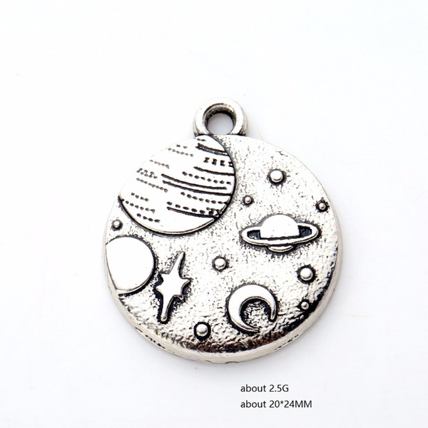 Zinc Alloy Round Disc floating Charms Celestial Body Planet Moon And Star Pendants Necklace&Bracelet Jewelry