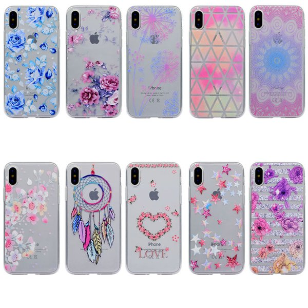For iPhone X 8/7 6S/6 Plus SE/5S/5 Floral Pattern Clear TPU Soft Slim Flexible Silicone Glossy Phone Case For Samsung Galaxy S8 S7 Edge A520
