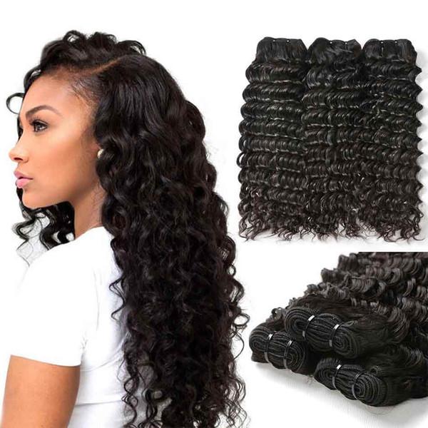 Schönheit auf Linie tiefe Welle peruanisches Haar 3bundles Jungfrau-Menschenhaar-Erweiterungen Remy-Menschenhaar-Webart bündelt wellige Webart Großhandelsbillig