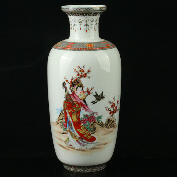 China Pastel Porcelain Hand Painted Beauty Vase Mark As The Qianlong>>>Free shipping