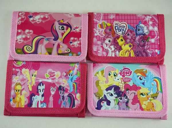 Hot Sale! 24 pcs Classic cartoon image Rainbow pony Cute Pattern cartoon children wallet purses gift bags Wholesale