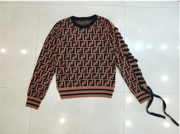 18 Europe and the United States autumn new FF letter long sleeves sleeves sleeves female bow tie sweater sweater sweater