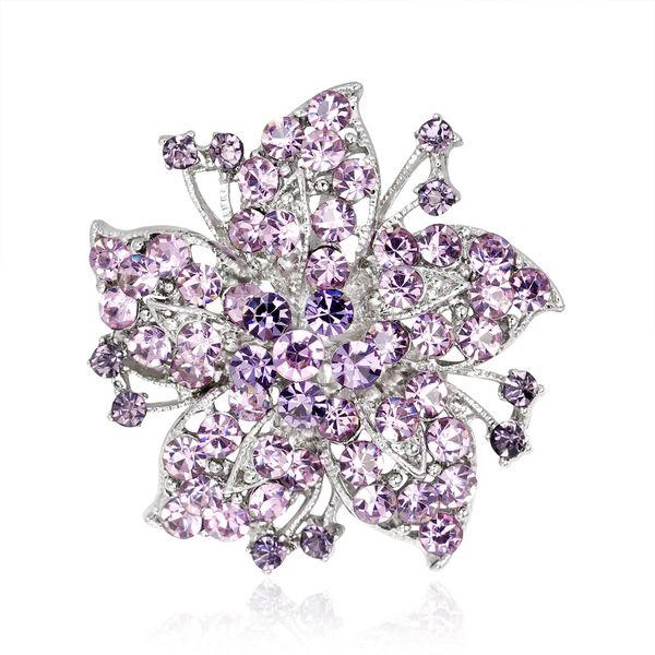 European and American Retro Flower Alloy Diamond Brooch Clothing Crystal Rhinestone Pin Fashion High-end Creative Women's Jewelry 2 Color