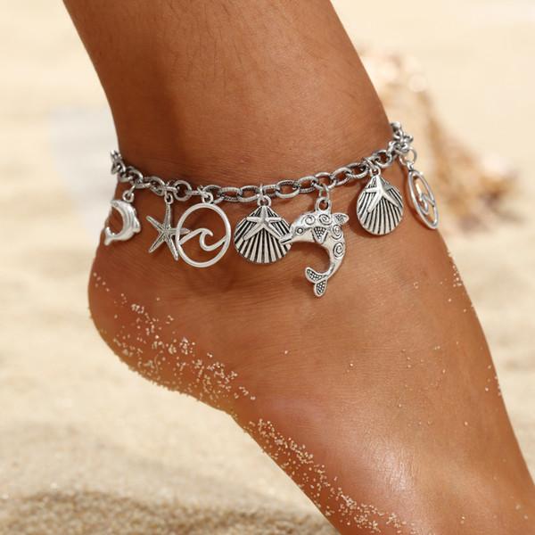 2018 Women Anklets Simple Silver Skull Shell Pendant Barefoot Crochet Sandals Foot Jewelry Summer Foot Legs Bracelet Anklets