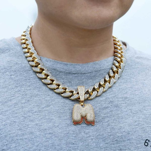 Iced Out hombre colgante Hip Hop cadena de oro para hombre Joyería collar para hombre Accesorios de acero inoxidable sin cadena Alto grado con joyería Zircon