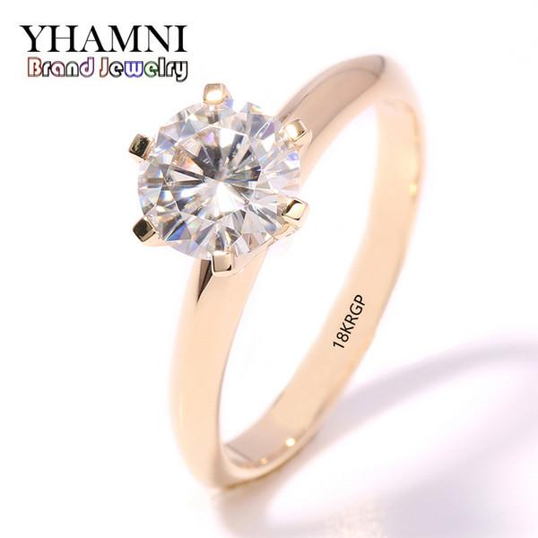 YHAMNI gioielli di moda Hanno 18KRGP Timbro originale in oro giallo Anello singolo CZ Zircone Donne nozze anelli d'oro JR169 L18100903