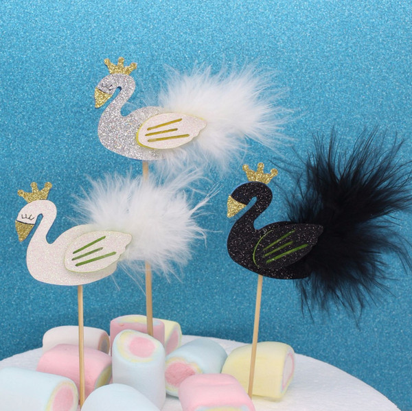 White Black Silver Feather Swan Cupcake Topper Cake Fruit Picker Cocktail Decor Favor 12 piece/lot DEC385