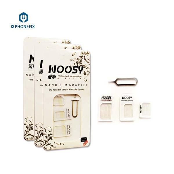 FIXPHONE 10pcs 4 IN 1 Noosy Dual SIM Adattatore per iPhone Samsung Huawei Xiaomi Nano Micro SIM Adattatore Espulsione Pin Key