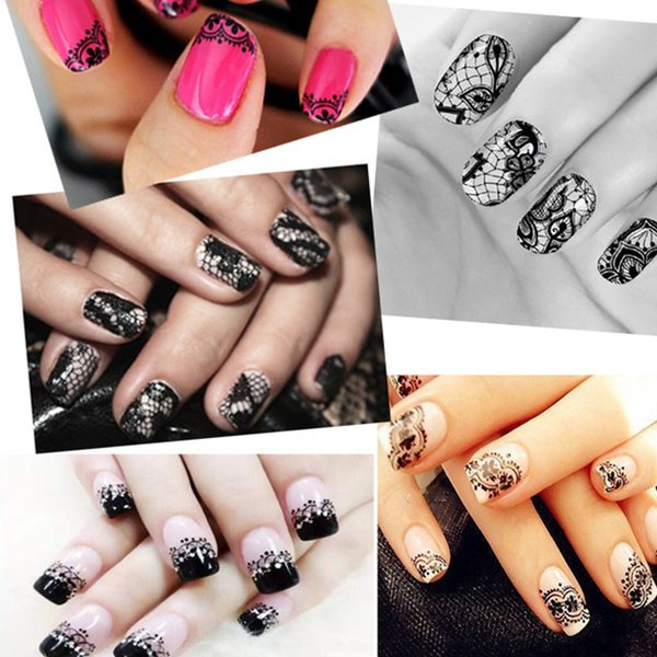 NEW Women Men 1 Roll Lace Flower Nail Wrap Sticker Tatoo Decoration Glue Transfer Image Stamping Printing Decal Decor