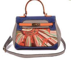 2017 New Euramerican star same style fashion shoulder bag messenger tote bag Floral Geometric pattern luxury designer handbags leather Soft