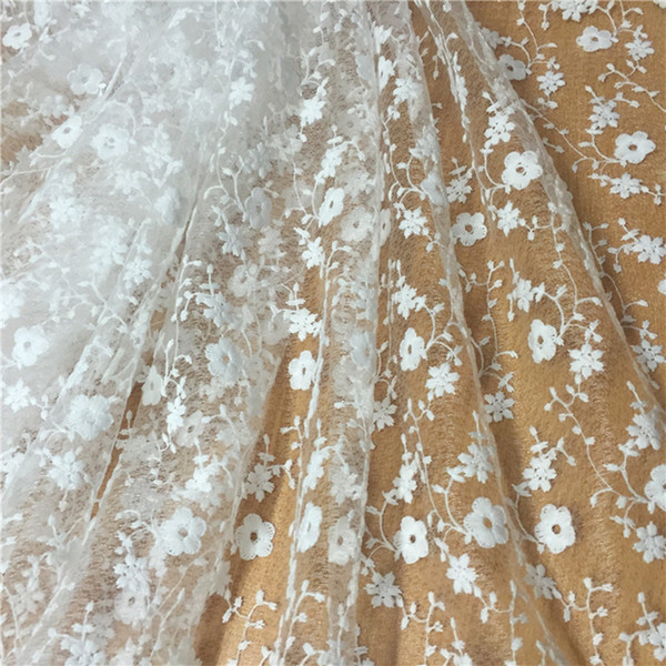 Meetee Net Wed Lace 120cm Elegant Tulle Bright White Wedding Curtain Doll Chiffon Fabric Cording Bridal Gown Water-soluble Embroidery