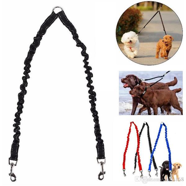 Hundekupplung Bungee Leine Doppel Walking Lead Elastic Zwei Hunde Leine Splitter Seil Haustier Tiere Kette Strap Zubehör HH7-1174