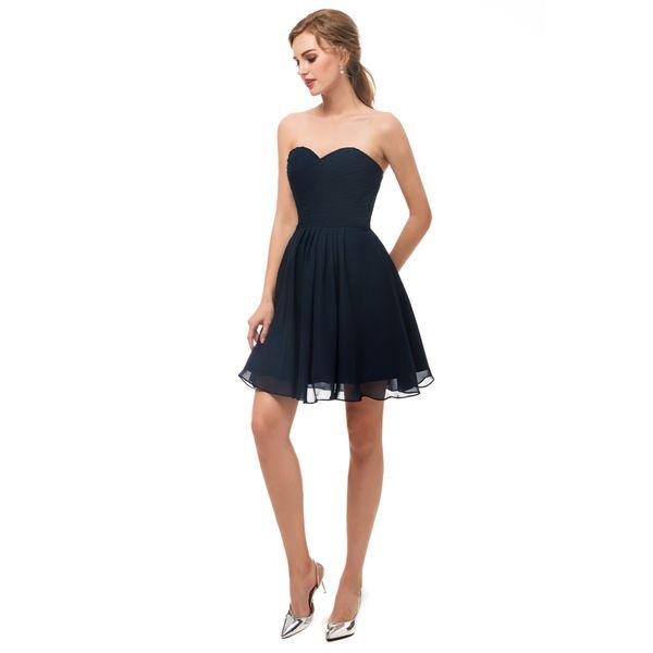 Lacivert Kısa Sevgiliye Parti Elbiseler Gerçek Görüntü Homecoming Elbise Fermuar Geri Diz Boyu 2018 Yeni Basit Küçük Elbise