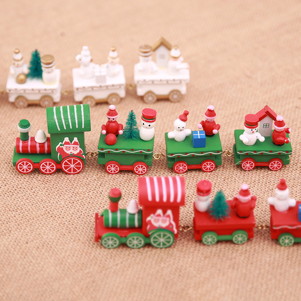 Christmas wooden train gifts car children Xmas gifts Christmas decorations creative desktop ornaments Party Home Decorations