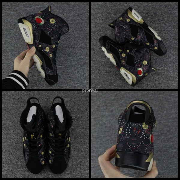 2018 Año Nuevo Chino Hombres 6 VI Zapatos de baloncesto CNY 6s Bordado Fuegos artificiales Peonía Hombres Deportes Zapatillas de deporte Entrenadores Eur 41-47