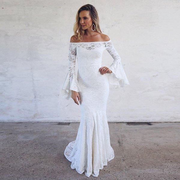Boho Vestidos de novia de encaje Sirena Bohemia Mangas largas acampanadas Fuera del hombro Sirena larga Hasta el suelo Vestidos de novia Tamaño personalizado