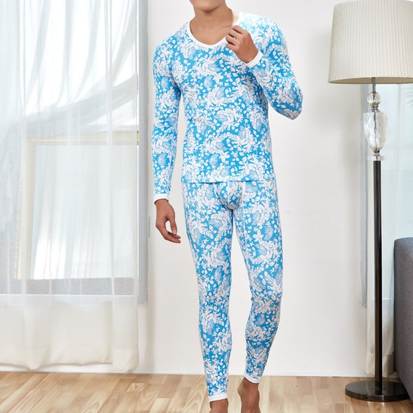 A Set Cotton Men's Sexy Thermal Underwear Fashion Printed Flower Warm Man Long Johns Sleepwear Pyjama Homme Mens Leggings