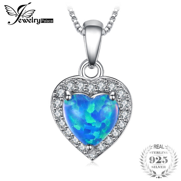 JewelryPalace Heart 0.3ct Cabochon Created Black Opals Pendant 925 Sterling Sier Fashion Jewelry For Women Without a Chain