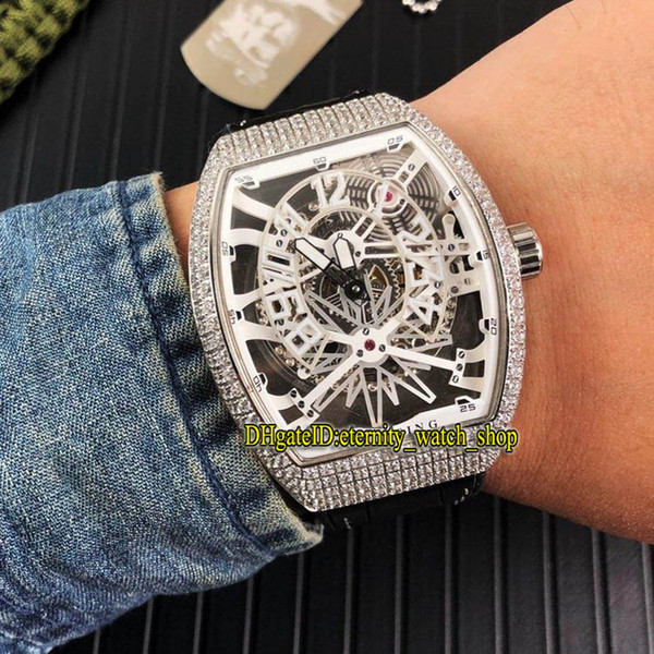 Brand VANGUARD YACHTING GRAVITY V45 T GR YACHT SQT White Skeleton Dial Automatic Mens Watch Silvery Diamond Case Rubber Strap Sport Watches