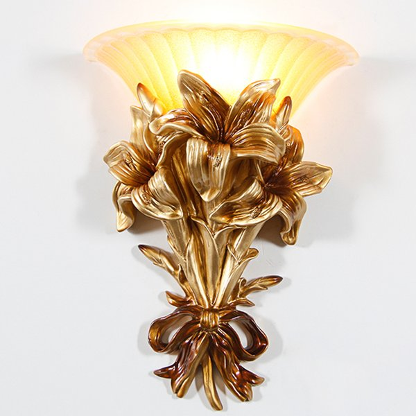 Classic LED Glass Gold Wall Lamp Gold Resin Flower Wall Sconce Fixture For Bedroom Corridor lamp Home Lighting G705