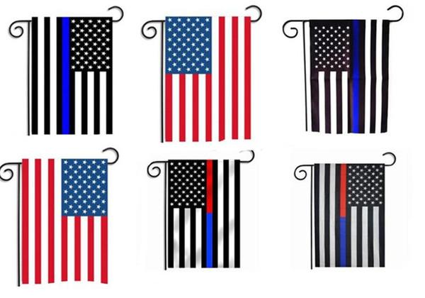 Us-garten flagge 30 * 45 cm blaue linie rote linie usa polizeiflaggen 12 * 18 zoll dünne blaue rote linie usa flagge schwarz weiß blau amerikanische flagge