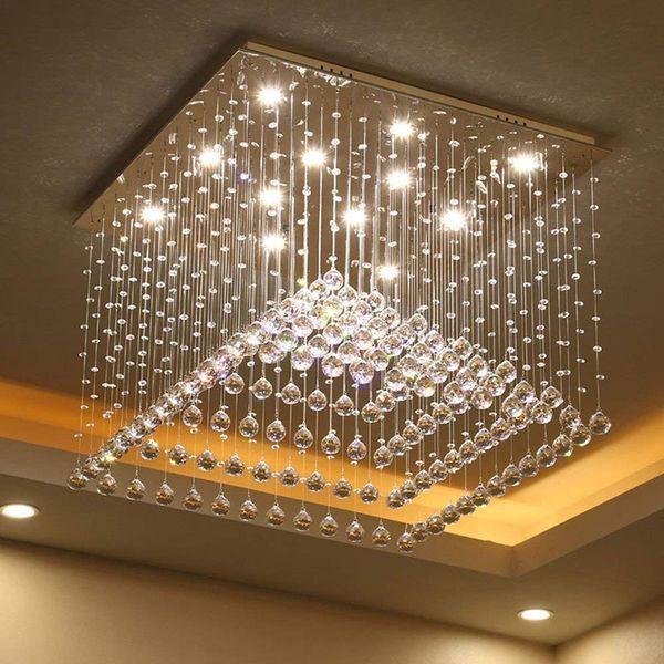 Светодиодный номер 3 Яркость K9 Crystal и S-Golden Зеркало из нержавеющей стали Люстра Потолочные светильники Подвесной светильник со светодиодной лампой и пультом дистанционного управления