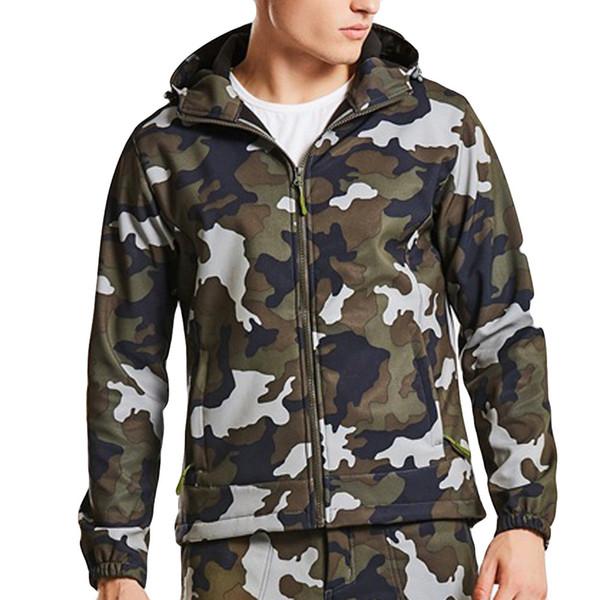 Мужская открытый камуфляж мягкое пальто оболочки штурмовой одежды водонепроницаемый лоскутное молния Спорт толстовка пальто новые куртки куртка #VD7