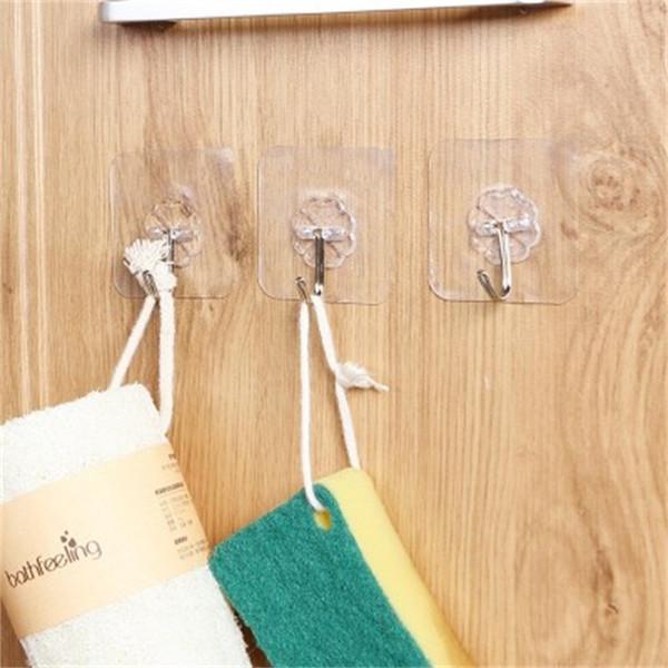 10Pcs 뜨거운 판매 다기능 강한 투명한 흡입 컵 빨판 벽 걸이 걸이 부엌 목욕탕을 위해 행운의 클로버 문 걸이