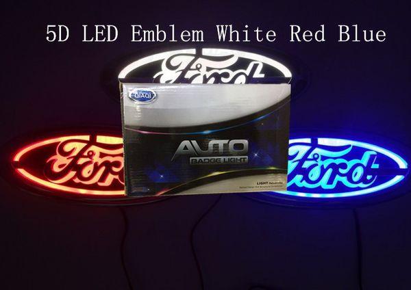 5D auto led emblema auto led distintivo auto led simboli logo lampadina posteriore bianco blu rosso per Ford dimensioni 145x65mm
