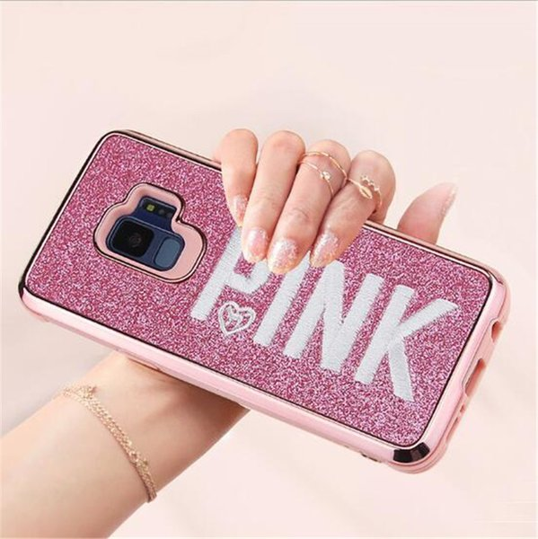 Luxury embroidery 3D pink letter case glitter bling love pink design case 3D Embroidery Phone Case For iPhone X Samsung S9
