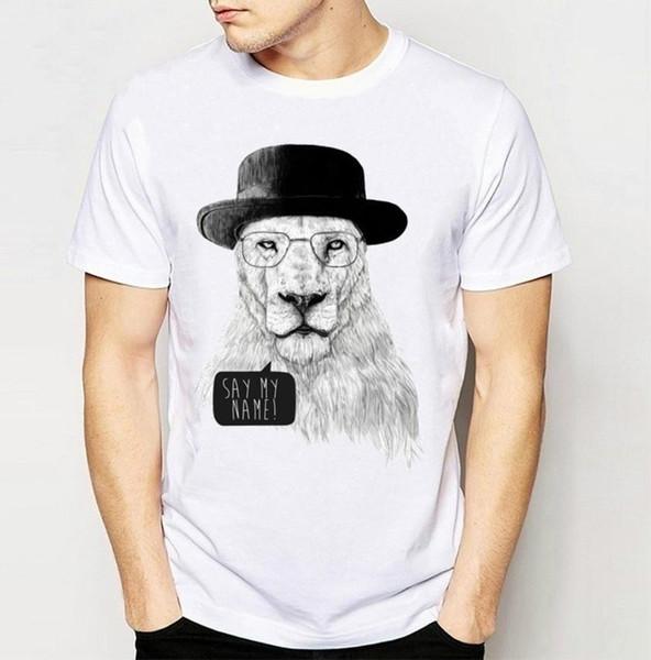 Бренд+новая мода Лев печати футболка мужская высокое качество повседневная топы Harajuku Hipster тройники