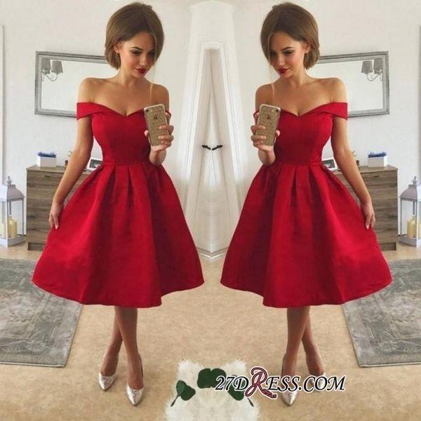 Abiti da cocktail economici rossi di stile semplice giù dalla spalla increspato gli abiti del partito di promenade di lunghezza del ginocchio in raso