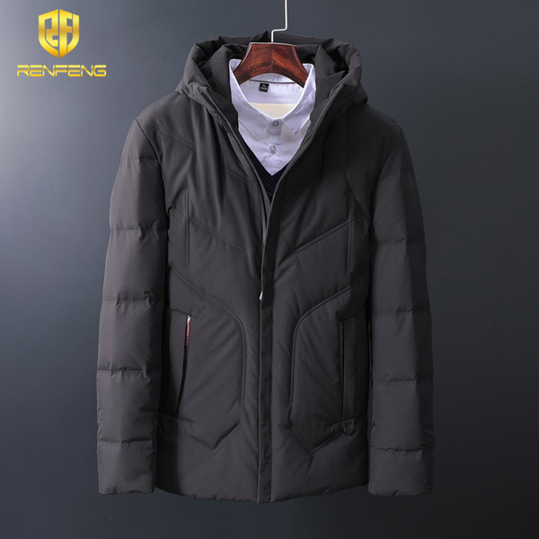 renfeng Winter Solid Parka Warm Jackets Waterproof Zipper Pocket High Quality Parkas Thicken Coat Men Brand Clothing Plus Size