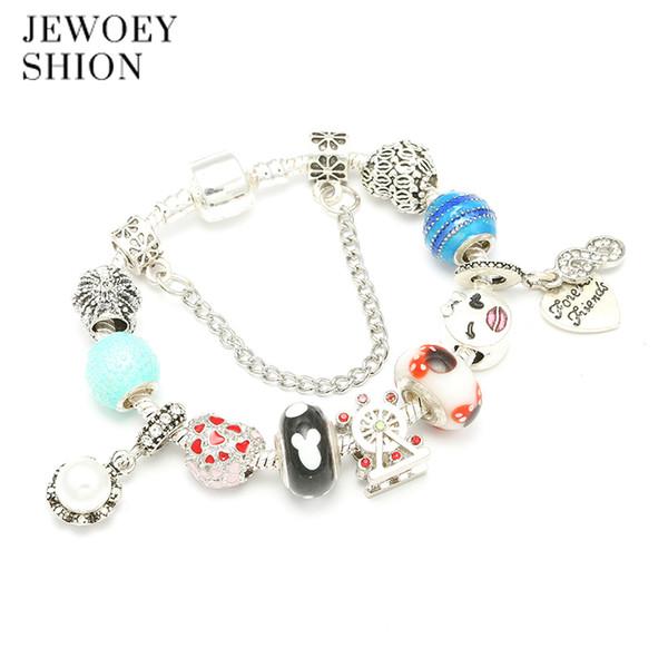JEWOEY SHION 2018 Hot Sale New Ferris wheel bead Pan Charm Bracelet for Women DIY Jewelry Original Beads Fashion Bracelets